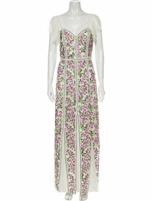 Alice + Olivia Floral Print Long Dress w/ Tags White