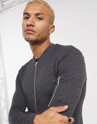ASOS DESIGN muscle jersey bomber jacket with MA1 pocket in charcoal