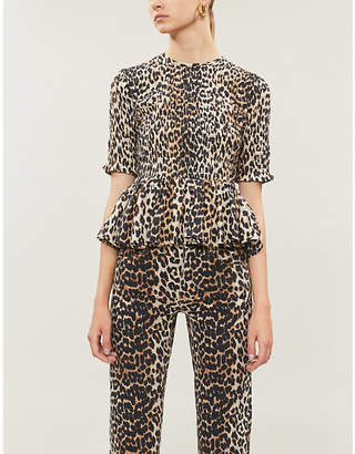 Ganni Leopard-print cotton and silk-blend blouse