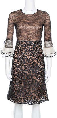 Valentino Black Lace Overlay Flute Sleeve Midi Dress S