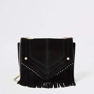 River Island Black leather fringe studded cross body bag
