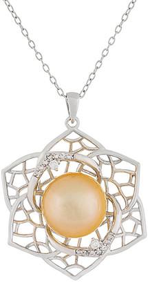 Splendid Pearls Silver 10-11Mm South Sea Pearl Pendant Necklace
