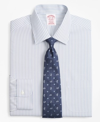 Brooks Brothers Madison Classic-Fit Dress Shirt, Non-Iron Alternating Double-Stripe