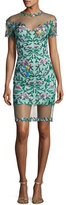Tadashi Shoji Short-Sleeve Embroidered Mesh Cocktail Dress, Green