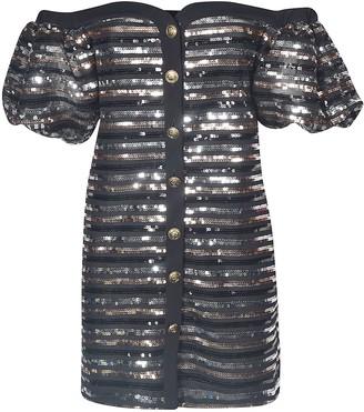 Philosophy di Lorenzo Serafini Off-shoulder Sequin Buttoned Dress