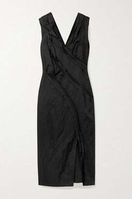 Jason Wu Collection Ruffled Washed-sateen Midi Dress - Black