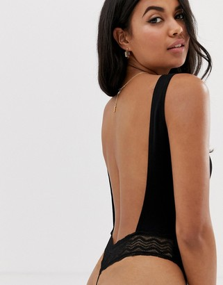 Asos Design DESIGN rib and lace thong back bodysuit-Black