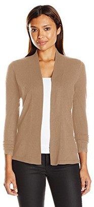 Sag Harbor Women's Petite Size Open Flyaway Cashmerlon Cardigan Sweater with A-line Hem