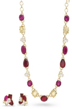 Catherine Malandrino Women's Red, Magenta And Metallic Rhinestone Yellow Gold-Tone Cluster Earring And Necklace Set