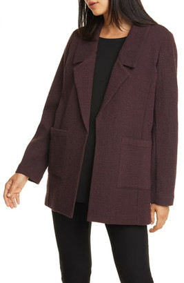 Eileen Fisher Notched Collar Textured Jacket