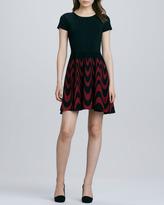 Parker Delaney Fit-and-Flare Dress, Black