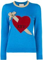 Gucci heart and dagger motif sweater - women - Silk/Cashmere - M