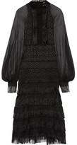 Jonathan Simkhai Fringed Silk Chiffon-paneled Guipure Lace Midi Dress - Black