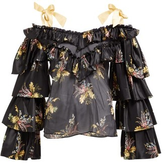 Rodarte Ruffled Floral-print Silk-blend Blouse - Black Multi