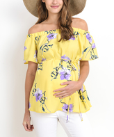 Yellow & Blue Floral Maternity Off-Shoulder Top
