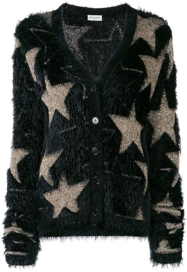 Saint Laurent lurex stars jacquard cardigan