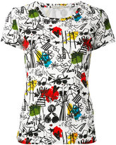 Alice + Olivia Alice+Olivia - illustrated print T-shirt - women - Cotton - M