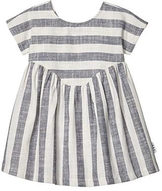 HUXBABY Stripe Yoke Dress (Infant/Toddler) (Navy Stripe) Girl's Clothing