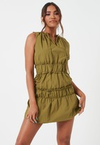 Missguided Khaki Ruched Waist High Neck Mini Dress