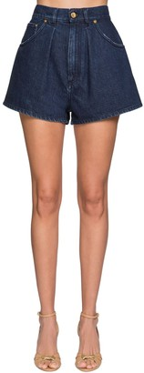 Alberta Ferretti High Waist Cotton Denim Shorts
