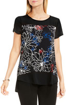 Vince Camuto Floral Coastlines Mixed Media Top