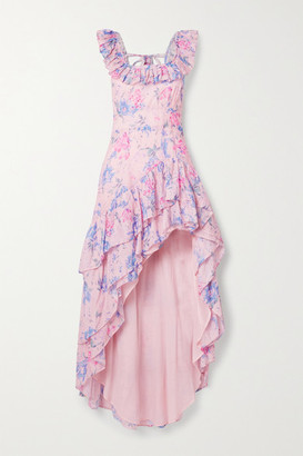 LoveShackFancy Winslow Asymmetric Ruffled Floral-print Cotton And Silk-blend Dress - Pink
