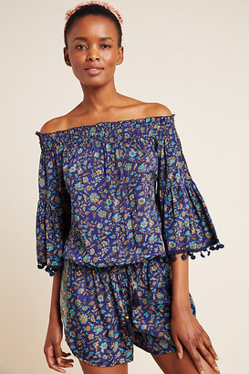 Raga Pommed Off-The-Shoulder Romper By in Blue Size XS