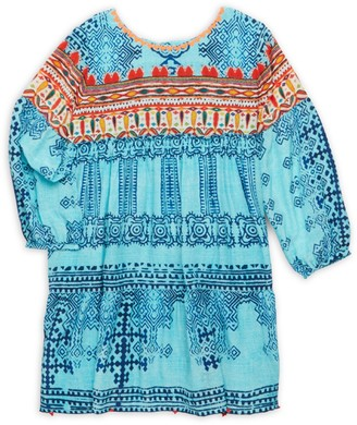HEMANT AND NANDITA Little Girl's & Girl's Printed Silk Crepe Tunic Dress