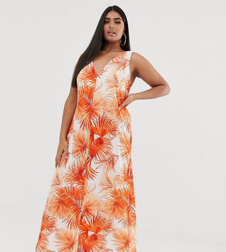 Asos DESIGN Curve low back maxi dress in palm print