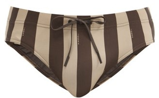 Fendi Pequin-striped Swim Briefs - Brown