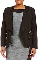 Calvin Klein Plus Luxe Stretch Open Front Jacket With Four Zip Pockets