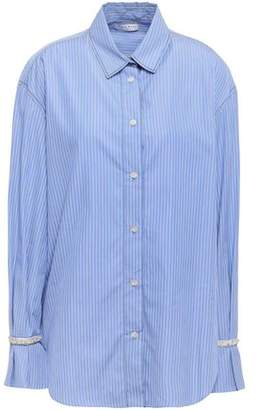 Sandro Embellished Striped Cotton-poplin Shirt