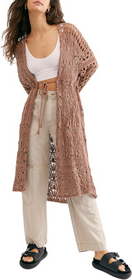 Free People Sweet Talker Long Crochet Cardigan