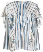 Alberta Ferretti striped ruffle trim blouse