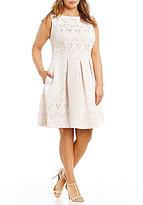 Sangria Plus Jacquard A-Line Party Dress