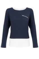 Quiz Navy and White Chiffon Light Knit Zip Detail Top