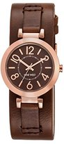 Nine West Women's NW/1866BNRG Rose Gold-Tone and Brown Cuff Strap Watch