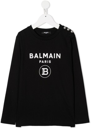 Balmain Kids Logo Print Long-Sleeved Top