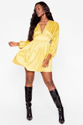 Nasty Gal Womens Honey I'm Home Plus Satin Leopard Dress - Mustard