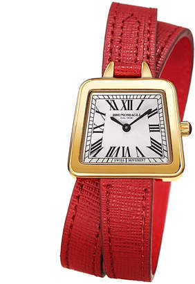 Bruno Magli 28mm Emma Trapezoid Double-Wrap Watch, Red/Gold