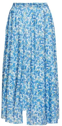 Vetements Floral-print Double-waist Buttoned Skirt - Womens - Blue White