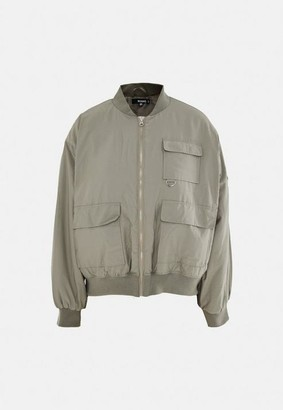 Missguided Olive Oversized Pocket Bomber Jacket