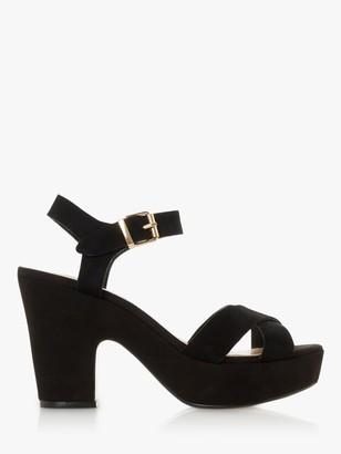 Dune Jiyla Suede Platform Sandals, Black
