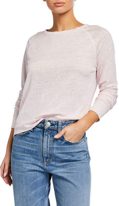 Vince Raglan Long-Sleeve Linen T-Shirt