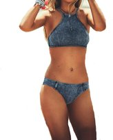 The Bazaar R Womens Fashion Denim Design Style Triangle Padded Bikini Swimsuit