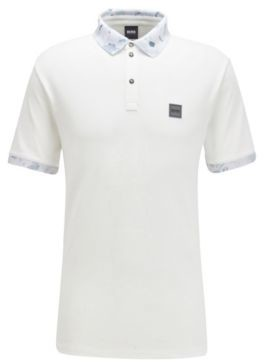 HUGO BOSS Stretch Cotton Polo Shirt With Printed Collar And Cuffs - White