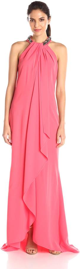 Ignite Women's Jeweled Neck Long Jersey Drape Front Gown