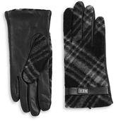 Lauren Ralph Lauren Plaid Print Leather Tech Gloves
