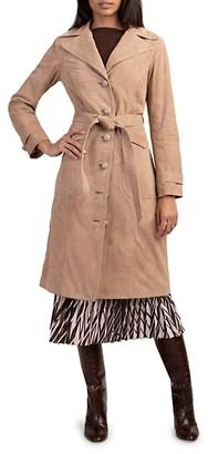 Trina Turk Seventies Suede Trench Coat