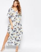 Traffic People Caftan Maxi Dress In Palm Print